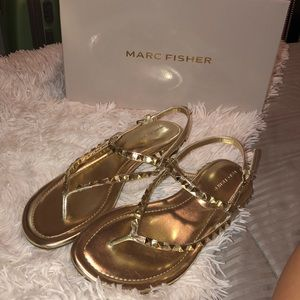 Gold Marc Fisher sandals
